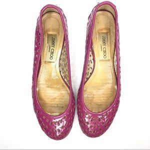 Jimmy Choo Fuchsia Perforated Ballet Flats